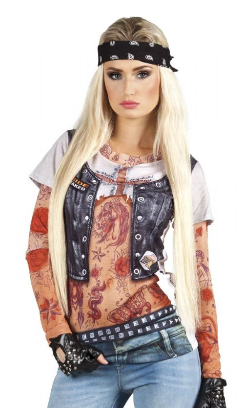 Ladies Biker Girl Outfit for Rock Punk 60s 80s Fancy Dress Costume Photorealistic shirt Medium